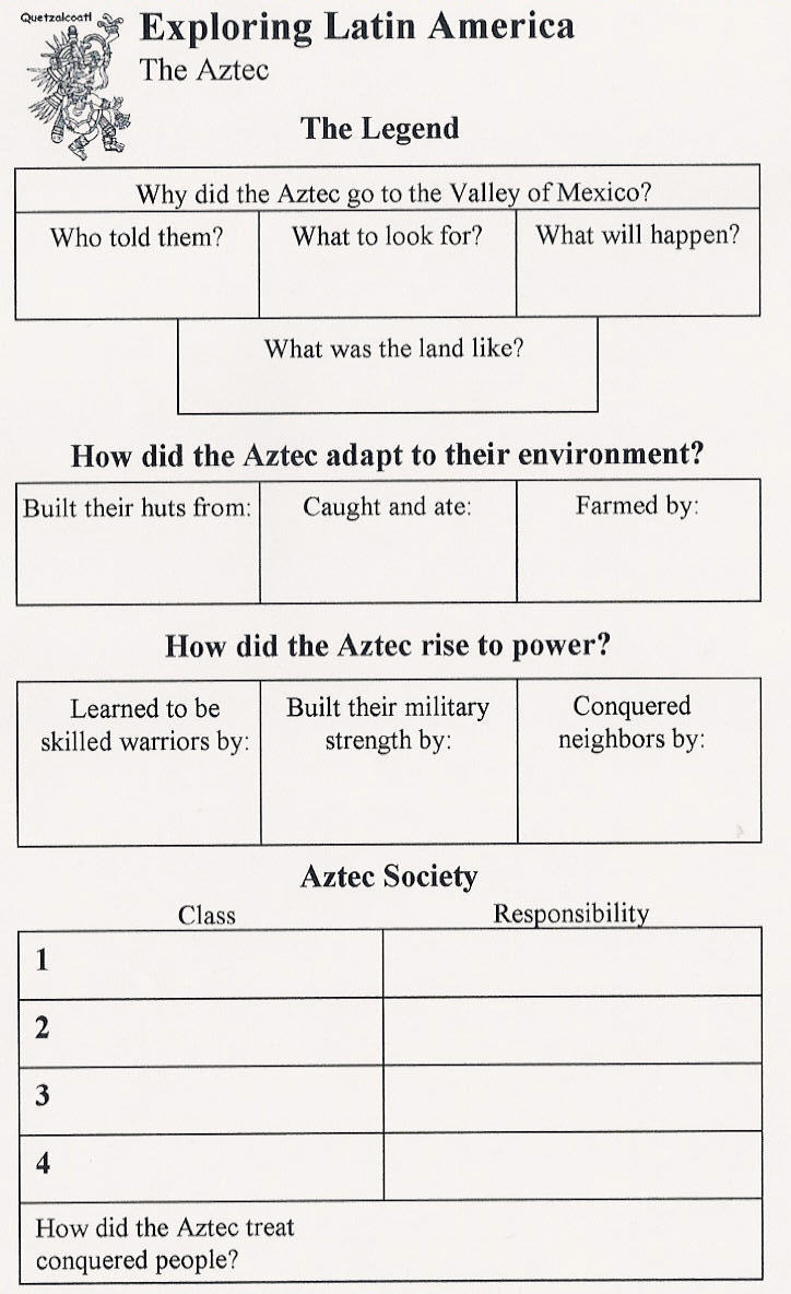 The Aztecs - Interactive Notebook Handout